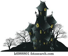 Scary haunted house and trees illus