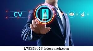 Send CV, Resume, Recruitment, Employment, Hiring Business Concept.