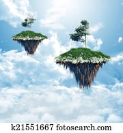 Floating islands in the clouds