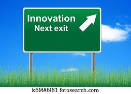 Innovation road sign on sky background, grass underneath.
