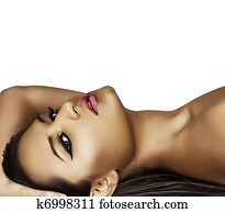 model lying with fashion make-up