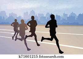 Printgroup of marathon runners silhouettes on abstract city background