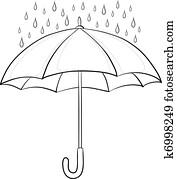 Umbrella and rain, contours