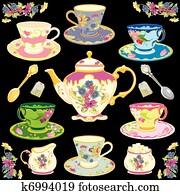 Clip Art Of Victorian Tea Set K7554166 Search Clipart