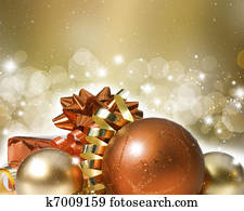 Christmas ornaments on decorative background