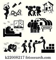 Refugees Evacuee War Cliparts