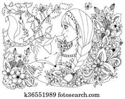 Clipart Vektor Abbildung Zentangl Mädchen Kind Mit