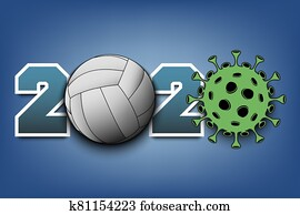2020 and coronavirus sign with volleyball ball