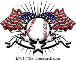 baseball, mit, flaggen, und, sternen