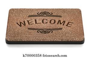 Door mat with welcome text isolated on white background. 3D illustration