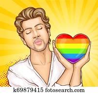 Homosexual man with rainbow heart cartoon vector