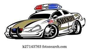 Sheriff Car Cartoon Illustration