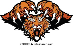 Tiger Mascot Pouncing Graphic Logo