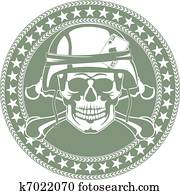 Emblem a skull in a military helmet
