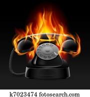 Realistic fire retro phone