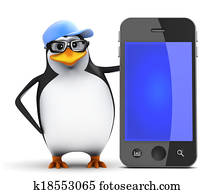 3d Penguin with giant smart phone