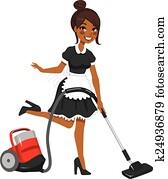 African American Maid Vacuum Cleaner