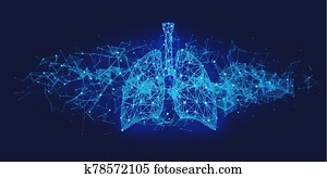 Futuristic medical concept with blue human lungs