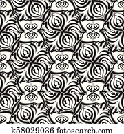 Floral vector seamless pattern. White background with black abs