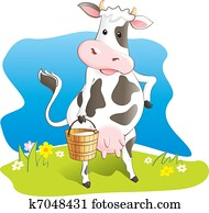 Funny cow carry wooden milk pail