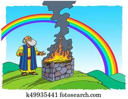 Noah stands near the Altar and there is a Rainbow in the sky