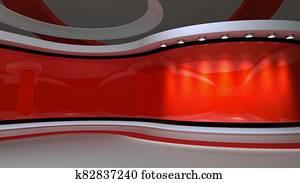 Red Studio. Red  background. News studio. 3d rendering