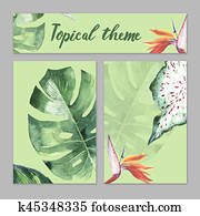 Tropical Hawaii leaves palm tree theme in a watercolor style isolated.