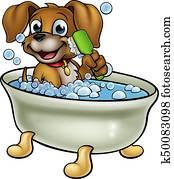 Cartoon Dog in the Bath