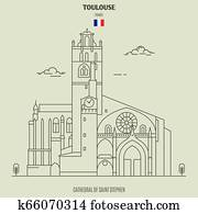 Cathedral of Saint Stephen in Toulouse, France. Landmark icon