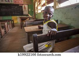 Cute girl at her school in Africa