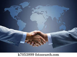 Handshake with map of the world in