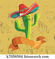 Mexican food cactus with banner
