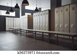 Modern locker room interior
