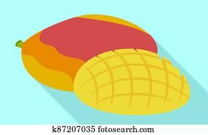 Tasty mango icon, flat style