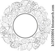 Black circle of fruit hops