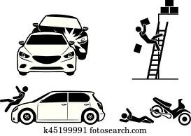 Four icons for accident insurance