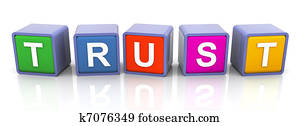 3d colorful text 'trust'