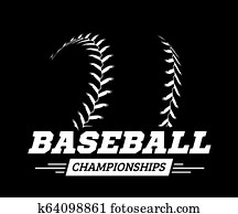 Baseball ball on black background. illustration