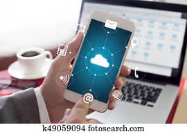 Cloud Computing diagram Network Data Storage Technology Service