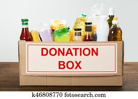Food Items In Donation Box