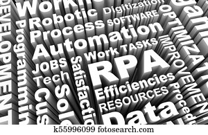 RPA Robotic Process Automation Word Collage 3d Illustration