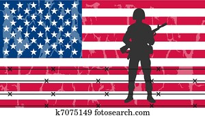 Silhouette of an army soldier in front of usa flag