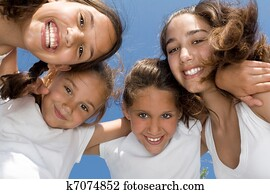 summer camp, happy group of smiling, girls kids or children