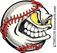 baseball, gesicht, karikatur, kugel, bild