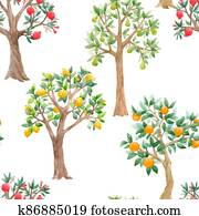 Beautiful seamless pattern with cute watercolor fruit trees. Stock orchard illustration.