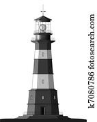 Detailed Lighthouse - isolated on white