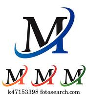 initial letter M swoosh logo