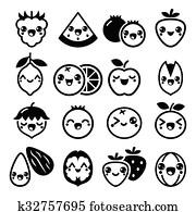 Kawaii Frutta E Noci Carino Characte Clip Art K34913268