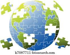 puzzel, world,, vektor