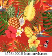 Tropical flowers and fruit seamless
